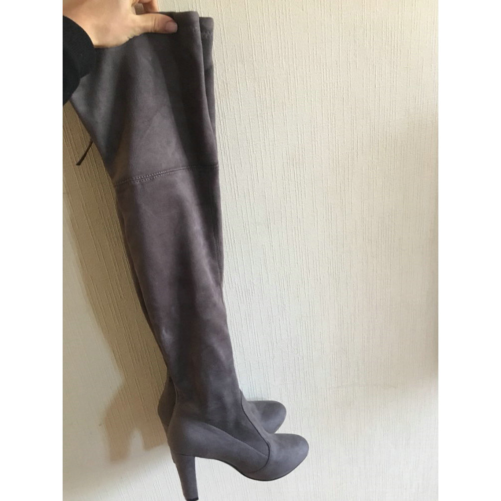 Quality Womens Black Faux Suede Over the Knee Boot Sexy Party Thigh High Heels Boots Shoes with Lace-up Gray Wine Nude Color
