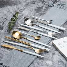 Nordic White/Silvery gold 304 stainless steel steak cutlery Western creative home tableware