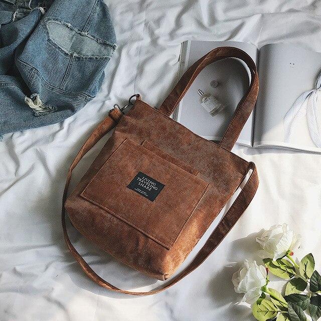 Women Corduroy Zipper Shoulder Bag Cotton Canvas Handbag  2