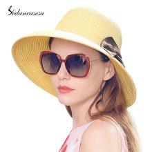 Las mujeres plegable de ala ancha sombrero de paja sombreros para las  mujeres hecho a mano Bowknot verano Playa Sol tapas de gan. bf335f5a614