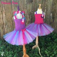 Kids Bustle Unicorn Tutu Dresses For Girls Birthday Party Dress Up Rainbow Pony Costume With Headband