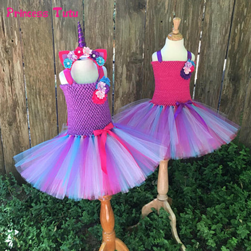Kids Bustle Unicorn Tutu Dresses For Girls Birthday Party Dress Up Rainbow Pony Costume With Headband Baby Girl Halloween Dress 1set baby girl polka dot headband romper tutu outfit party birthday costume 6 colors