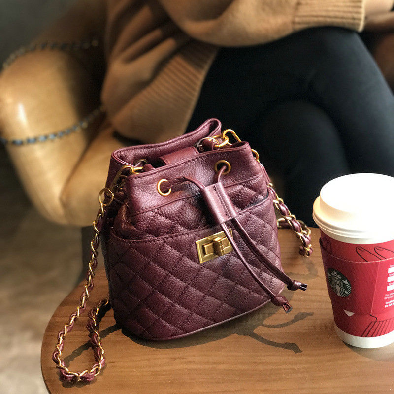 Genuine Leather Quilted Drawstring Chain Shoulder Small Bucket Bag Crossbody Handbag for Women Purse