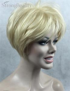 Image 5 - Güçlü Güzellik Sentetik Peruk Kadın Kısa Düz Peruk Kesim Saç Kadın Saç Seçmek Için Birçok Renk