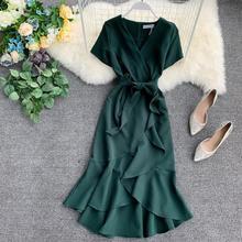Летнее женское плиссированное платье с короткими рукавами и v-образным вырезом, с высокой талией, однотонное изящное женское платье с поясом Vestidos