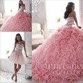 Luxo frisada light pink vestidos quinceanera 2016 destacável saia de renda querida sweet 16 vestidos pageant 2 em 1 bola vestido