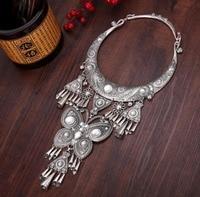 free shipping Handmade Retro yun nan pendant collars flower dragon elephant miao luck silver necklaces