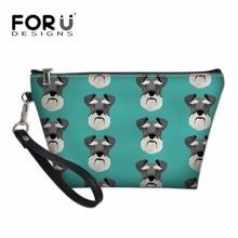 FORUDESIGNS Ladies Portable Travel Necessity for Make Up Women Schnauzer Printing Cosmetic Box Girls Kawaii Pencil Bags Bolsas