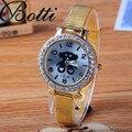 Ybotti urso ocasional de quartzo-relógio relógios rosa de ouro rhinestone mulheres vestido relógio de pulso de couro sports watch relojes mujer 2016