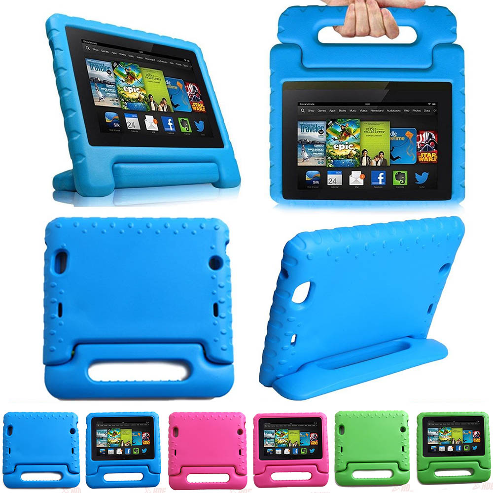 Eagwell Kids Children Safe Rugged Proof Foam Case Handle Stand For Amazon Kindle Fire HD 8 2016 Thick EVA foam