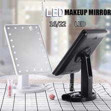 Professional LED Touch Screen Make Up Mirror Luxury Mirror with 16/22 LED Lights 180 Degree Adjustable Table Makeup Mirrors 180 degree up