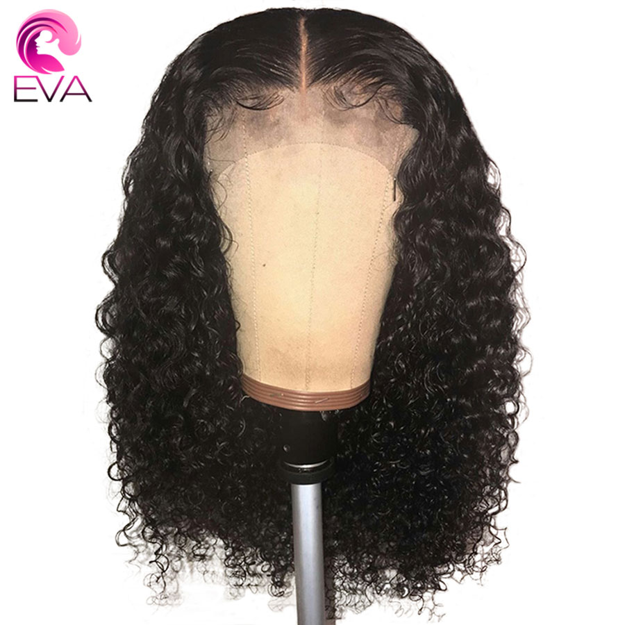Eva Curly Lace Front Human Hair Wigs With Baby Hair Pre Plucked Brazilian 13x6 Lace Front Wig For Women Natural Black Remy Hair