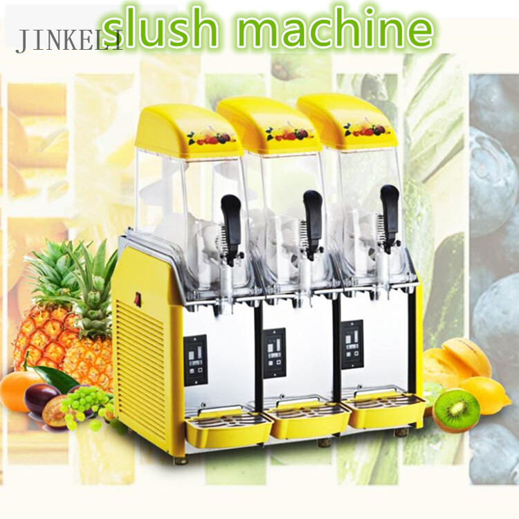 free ship 220v 36L Hot type triple cylinder slush machine cold drink machine,fruit juice dispenser beverage Cool beverage maker duoble heads juice dispenser slush machine 15l 2