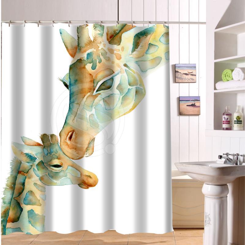 F516XY27 Custom The giraffe and colorful hand-drawn cartoon animals Fabric Modern Shower Curtain bathroom Waterproof LF22