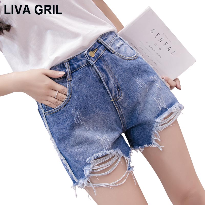Liva Girl New Arrival Casual Summer Women Denim Shorts High Waists Fur-Lined Leg-Openings Plus Size Sexy Short Jeans