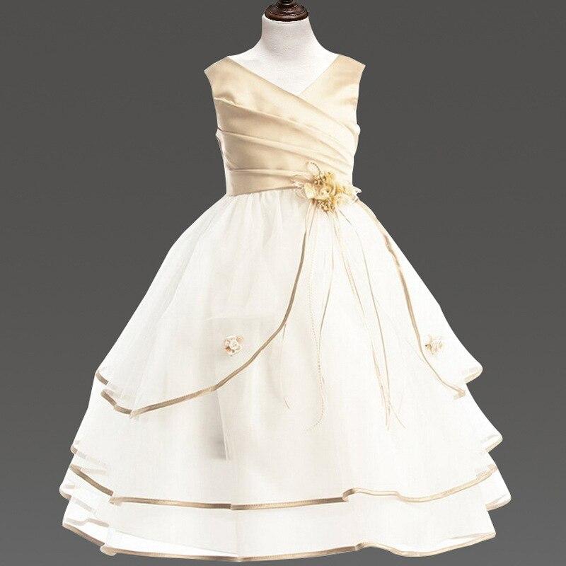 ФОТО girls clothes flower girls dresses summer 2017 mesh party evening wedding princess dress kids layered dresses girls kids clothes