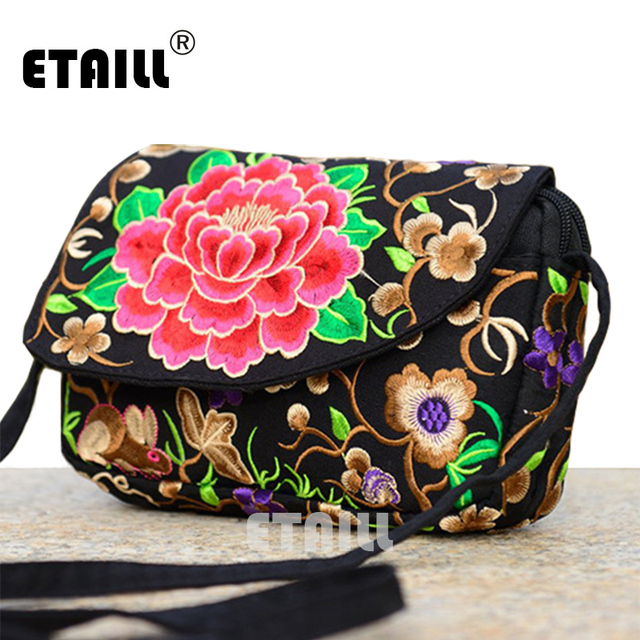 National 2016 Embroidered Shoulder Bags Boho Indian Thai Embroidery Canvas Casual Brief Mobile Phone Small Women's Messenger Bag