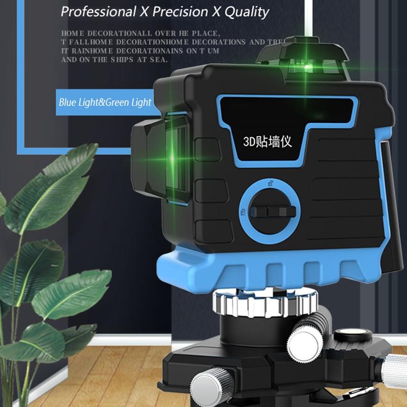 Nouveau 8/12 lignes 3D niveau Laser vert/bleu Rotation de niveau laser 360 ° nivellement automatique faisceau Laser Vertical Horizontal pour sol mural