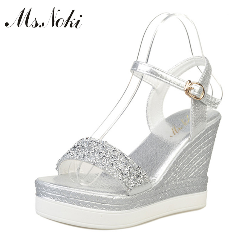 Ms.noki Sandals Women Platform Wedges Glitter Casual-Shoes Open-Toe High-Heels Gold Silver