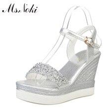 Ms. Noki/дамские босоножки на высоком каблуке блестящие серебро золото на платформе 2017 Летняя женская повседневная обувь с открытым носком туфли-лодочки