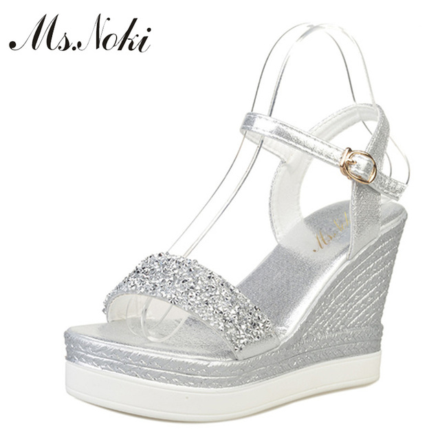 Ms.Noki high heels sandals women shinning glitter silver gold platform  wedges 2018 summer ladies open toe casual shoes pumps hot 11f879039401