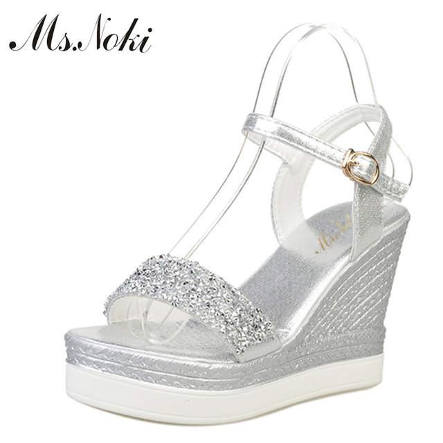 848b41123 placeholder Ms.Noki high heels sandals women shinning glitter silver gold  platform wedges 2018 summer ladies