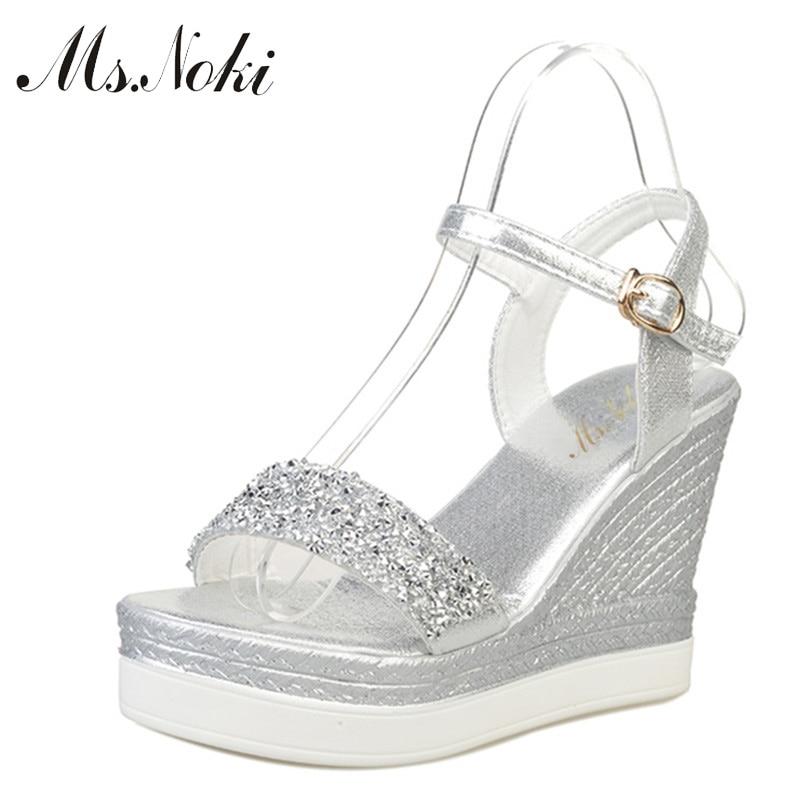 Ms Noki high heels sandals women shinning glitter silver gold platform wedges 2019 summer ladies open Innrech Market.com