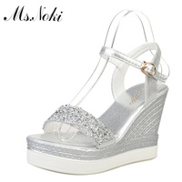 Ms Noki High Heels Sandals Women Shinning Glitter Silver Gold Platform Wedges 2017 Summer Ladies Open