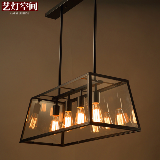 Retro Loft Iron Chandelier Rectangular Glass Box Restaurant Caf Creative Personality Living Room Lights Chandeliers