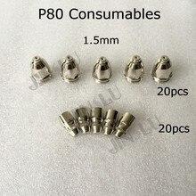цена Panasonic Feimate P80 Nozzle 1.5 mm Electrode 70A - 80A Air Plasma Cutting Torch Consumables 40pcs онлайн в 2017 году