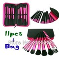 Drop Shipping Rose Color 11PCS Nylon Hair Make Up Brush Makeup Brushes With Cosmetic Bags