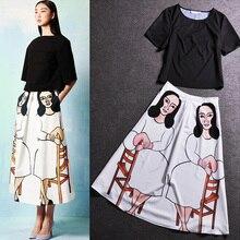 2017 European American Style 2 Piece Set Women Black Short Sleeve Blouse+Loose Casual Skirt Twins Set Plus Size 2 Pieces Set