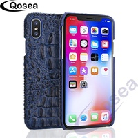 Qosea الفاخرة حقيقية ل فون 7 8 × حالة 3d التمساح الجلد تصميم يستعصي حالة جلد التمساح نمط الهاتف الغلاف الخلفي