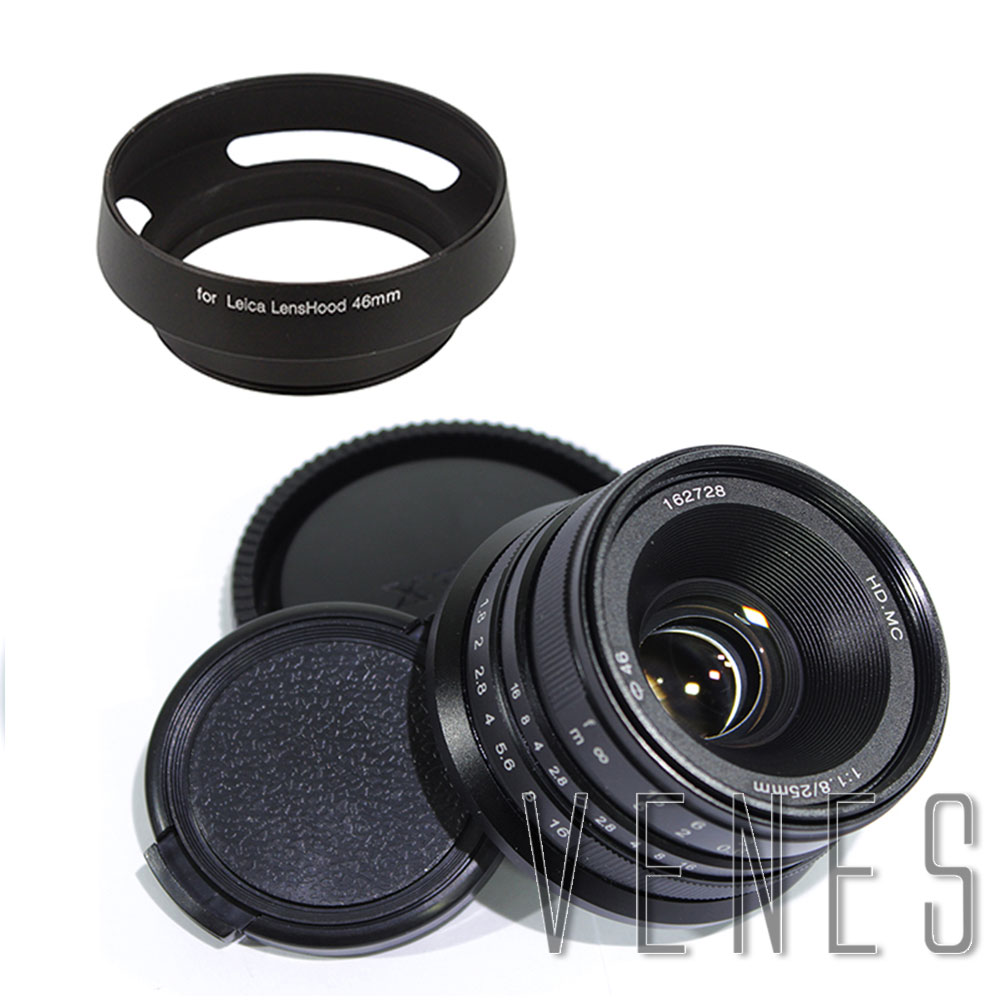 Camera Lenses 25mm F1.8 HD.MC Manual Focus Lens for Micro Four Thirds Micro 4/3 mount GX8 for Nex mount A6300+ 46mm Camara Hood объектив sigma af 19 mm f 2 8 dn art for micro four thirds black