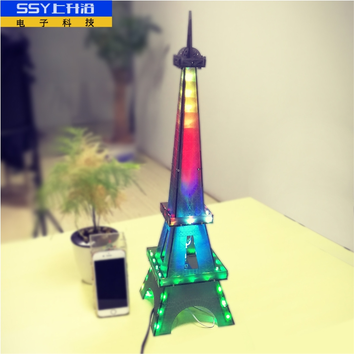 Light Cube suite tower in Paris Eiffel Tower LED DIY music spectrum electronic parts ювелирное украшение из шифона eiffel tower с бриллиантами от 18s rose golds