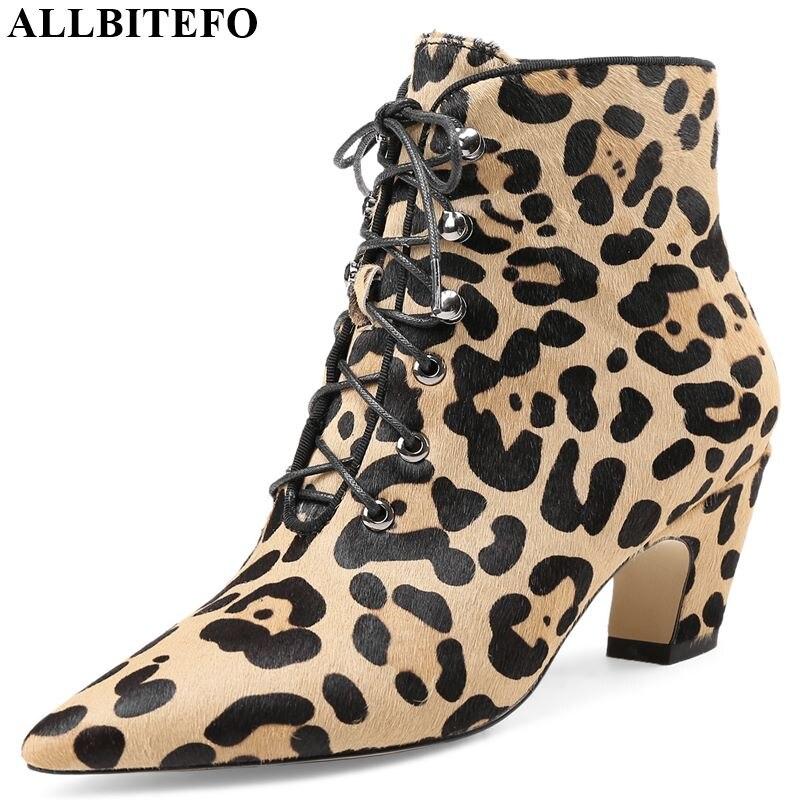 ALLBITEFO marque de mode talons hauts parti femmes bottes cheveux de cheval bout pointu bottines pour femmes hiver neige filles bottes