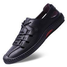 Brand Men Summer Fashion Sandals Beach Shoes Genuine Leather Casual Roman Style Soft Bottom