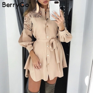 BerryGo lace women shirt dresses pure mesh embroidery Long sleeve button office ladies dresses Solid sashes summer mini dress(China)
