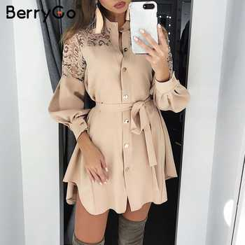 BerryGo lace women shirt dresses pure mesh embroidery  Long sleeve button office ladies dresses Solid sashes summer mini dress - DISCOUNT ITEM  46% OFF All Category