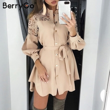 BerryGo レースの女性のシャツドレス純粋なメッシュ刺繍長袖ボタンオフィスの女性のドレス固体サッシ夏ミニドレス