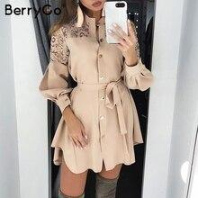 Berrygo 레이스 여성 셔츠 드레스 순수 메쉬 자수 긴 소매 단추 사무실 숙녀 드레스 솔리드 새시 여름 미니 드레스