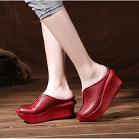 Wedges Slippers Women 2019 Slides Sandals Shoes Women Genuine Leather Closed Toe Handmade Comfortable Women Flat Shoes