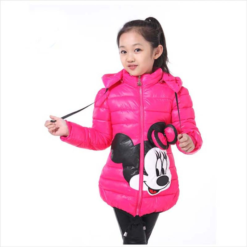 Girls Fashion Jackor Barnkläder Mickey Minnie Girl Cartoon Hooded Ytterkläder Toppar Winter Kids Bomull Coat I 3-6 År