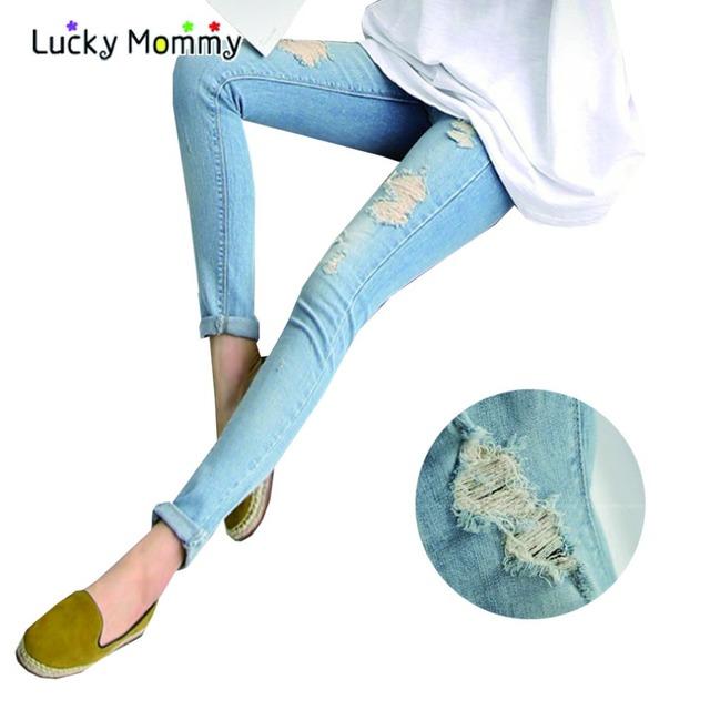 Outono Inverno calças de Brim de Maternidade para As Mulheres Grávidas Gravidez Buracos Calças Moda Roupas de Maternidade para Mulheres Grávidas Roupas