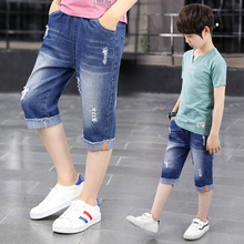 ФОТО summer europe and united boys shorts 2018 new sports cotton large children's  pants clothing casually kids denim child shorts