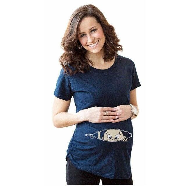 a42079d7adc94 2017 Summer Women T-shirts Tees Slim Cartoon Maternity Nursing Tops Funny  Pregnancy T shirts for Pregnant Women PA859684