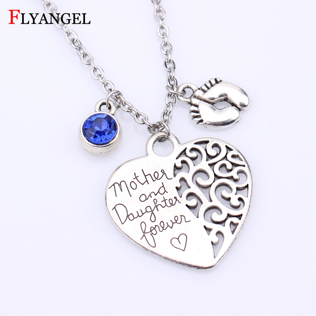 ef20c2377a6 Mother and Daughter Forever Heart Pendant Necklace Baby Girl First Step Necklace  Birthstone Chain Necklace Mom Daugther Jewelry