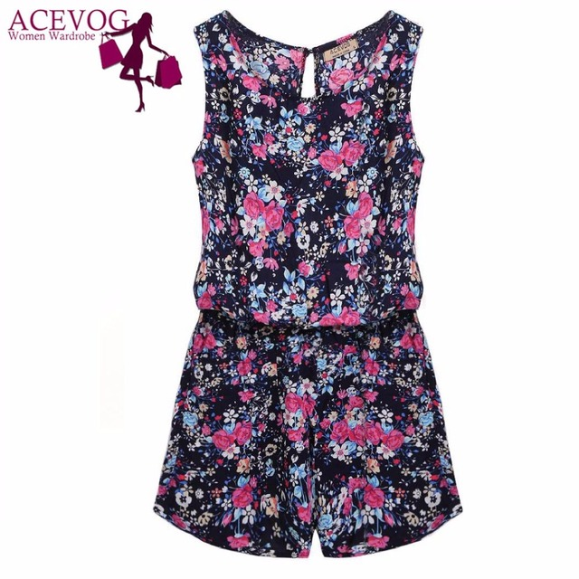 ACEVOG Summer Jumpsuit 2019 Women Playsuit Jumpsuit Casual Sexy Lady Sleeveless Backless Elastic Waist Print Mini Romper overall 2