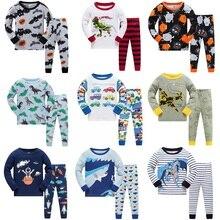 2017 New Cartoon Design Round Neck Boys Cotton Pajamas Set For Child kids long sleeve pyjamas Girls Pyjamas 2~7 Year