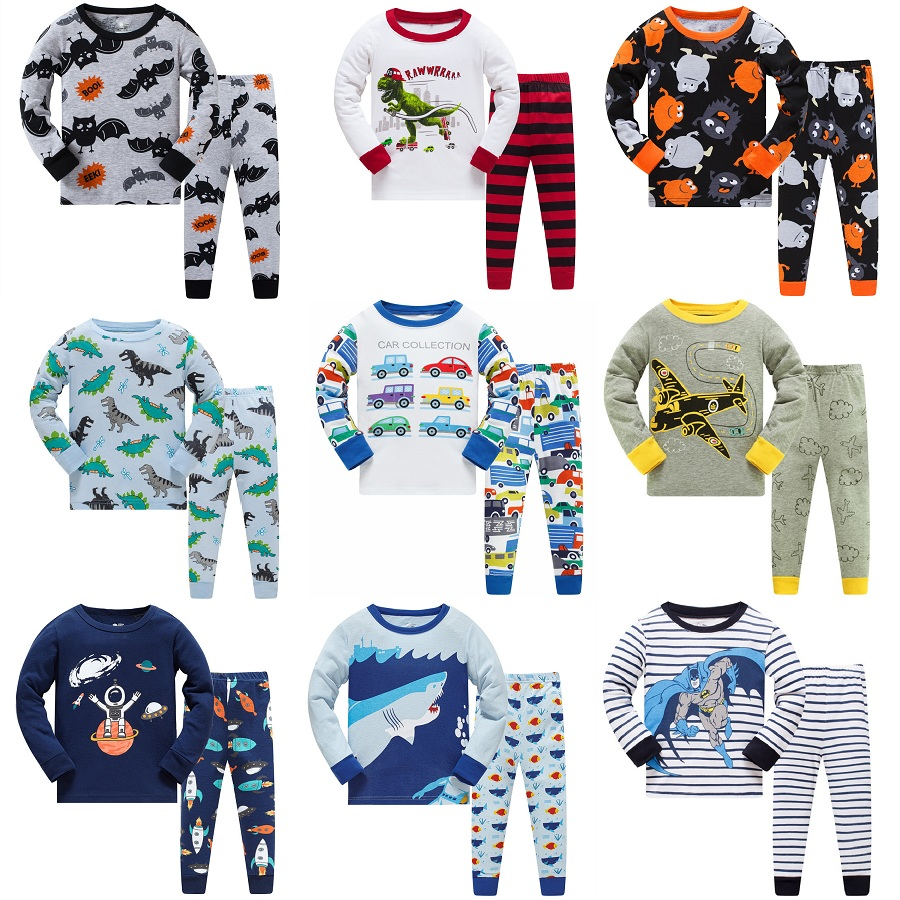 2019 New Cartoon Design Round Neck Boys Cotton   Pajamas     Set   For Child kids long sleeve pyjamas Boys Pyjamas 3~8 Year